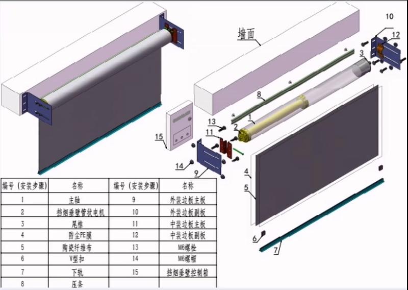 电动挡烟垂壁安装步骤图