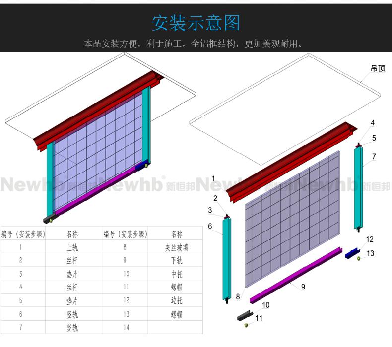 固定式刚性挡烟垂壁安装示意图(夹丝玻璃)